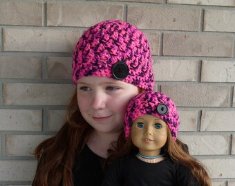Matching Girl & Doll Hat Set--Pink/Black Multi with Button