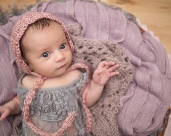 Handmade Crochet Newborn Baby Girl Photo Prop bonnet Victorian Rose lace