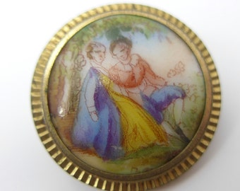 Antique Victorian Hand Painted Elizabethan Scene Gilt Back Button