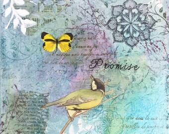 Small aqua mixed media art canvas 'Promise' 20cm x 20cm