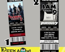 Printable Fast and furious 7 Movie Invitation Ticket, Fast and furious Invitation card, Fast and furious 7 Birthday Party!!!