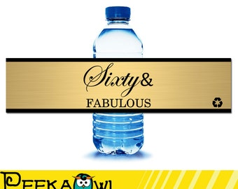 Instant Download Champagne 60th birthday water bottle labels - Black and gold 60th birthday water labels - Sixty and fabulous water labels!!