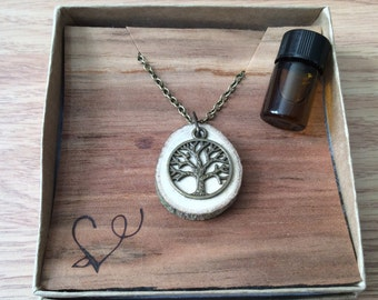 Ready to Gift // Ready to Ship Essential Oil Diffuser Necklace Made with Untreated Wood -- FREE SHIPPING
