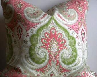 Pillow Cover - Pink and Green Print