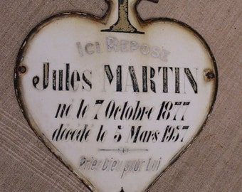 Headstone plaque, enameled steel, vintage French