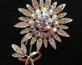 Francios Rhinestone Flower Brooch / Pin