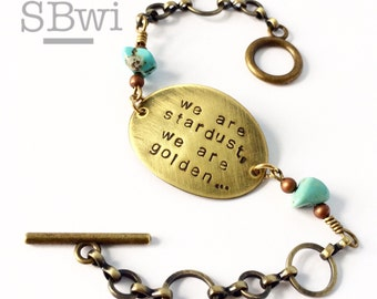 Joni Mitchell bracelet in bronze and copper with turquoise details