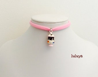 Kids Girls Tween Pink Handmade Stretch Choker Necklace 3D Ice Cream Chocolate Sundae Charm Gift Birthday Favor