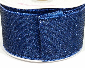 "2"" Shiny Metallic Ribbon - Royal Blue - 10 Yards"