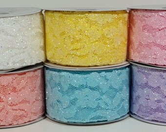 "2"" Sparkling Glitter Lace Ribbon - Canary - 10 Yards"