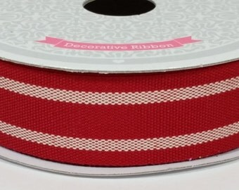 "7/8"" Dual Lines Ribbon - Red - 10 Yards"