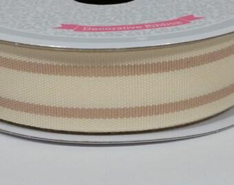 "7/8"" Dual Lines Ribbon - Tan - 10 Yards"