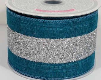 "2 1/2"" Canvas Glitter Center - Teal / Silver - 10 Yards"