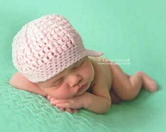 Hand Crochet Baby Hat Newsboy Paperboy Peaked Photography/Photo Prop Newborn- 2 Years Baby Girl UK Seller Pink Or Cream
