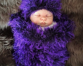 Baby Goth / Punk / Emo Hand Knitted Baby Cocoon Sleeping Bag Papoose & Hat Photo Photography Prop 0-6m Large Pom Purple Boy or Girl