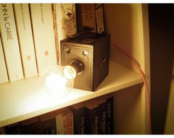 Upcycled vintage Kodak Popular Brownie camera lamp