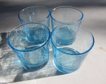 Set of 4 Baby Blue Textured Small Glasses