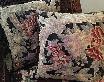 Pair Pristine Needlepoint Pillows in Aubusson Design Scroll with Flowers- Muted Brown, Cream, Reds & Pinks. Velvet Backed French Bedding