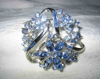 Vintage Coro Blue Rhinestone Brooch Rhodium Plated Settings