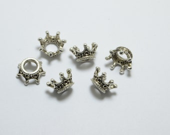 20pcs Crown Beads in Antique Silver, 12mm, European Style Large Hole Beads, Spacers, King, Royal, Top Drilled #SD-S7859