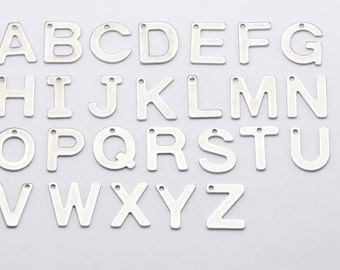 26pcs A-Z Stainless Steel Letter Charms, Alphabet, Words, Names, Initials. Full Set Alphabet of 26 Letters #SD-S8037
