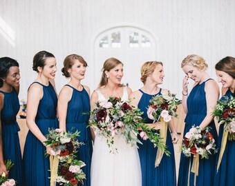 60 Colors Chiffon Navy Blue Long Party Dress Evening Wedding Sundress Maternity Summer Holiday Beach Dress Bridesmaid Dress Maxi Skirt