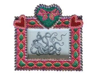 Sailors Valentine Style Seashell Frame