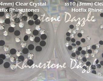 2000pcs Rhinestone Size Mix Bundle, ss10 Hotfix Clear Crystal Flatback Rhinestones, ss16 Hotfix Clear Crystal Rhinestones