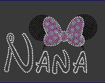 Disney NANA With Minnie Ears Rhinestone Iron On Transfer Hot Fix Bling