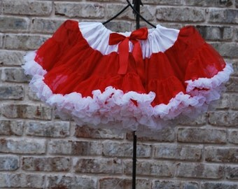 Ready to Ship Red and White Pettiskirt 4/5T - FREE SHIPPING