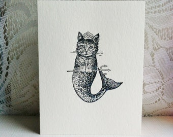Kitty Cat Mermaid handmade card for any occasion
