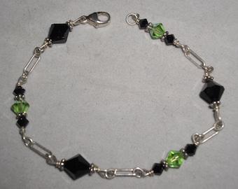 """Vintage Sterling 925 Silver Black & Green Crystal Bracelet 8"""""""