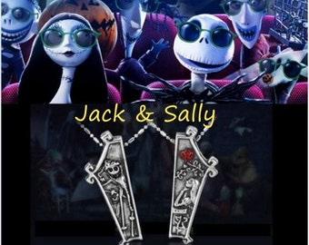 The Nightmare Before Christmas Jack & Sally coffin necklace set.