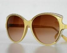 vintage sunglasses by Emilio Pucci / yellow acetate frame tinted graduated lenses / oversized designer mod retro Italian fashion / c.1970s