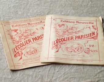 french antique drawing book / 2 x L'Écolier Parisien / collectible vintage craft book children cahier 3 & 8 beaux arts / made in Paris rare