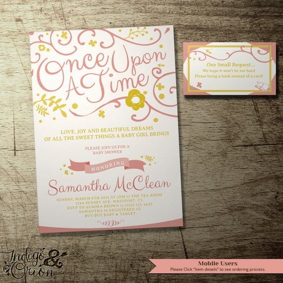 once upon a time baby shower invitation and bring a book insert c