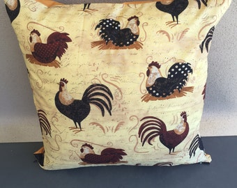 Roosters & Chooks on Caramel Cushion Cover