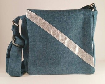 Light blue denim handbag