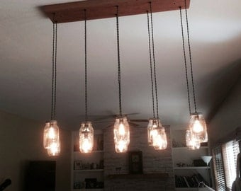 10 Light Mason Jar Chandelier - Rustic Cedar