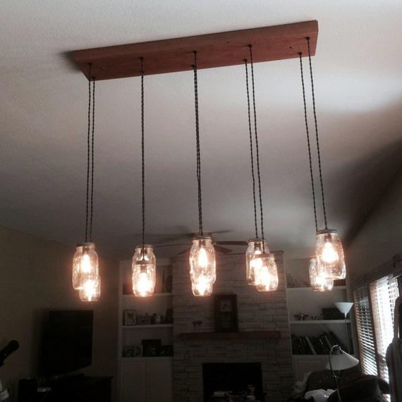 10 light diy mason jar chandelier rustic cedar rustic wood for Diy rustic pendant light