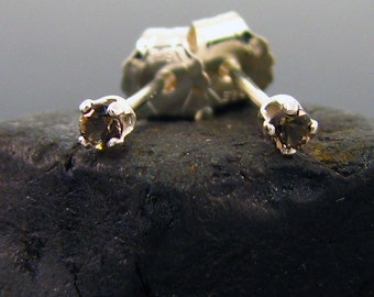 Small stud earings, very small studs smoky quartz 2 mm sterling silver, tiny earring stud