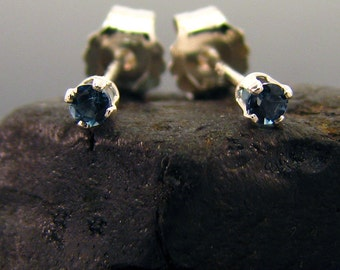 Tiny stud earring, very small studs london blue topaz 2 mm sterling silver, tiny stud earrings, tiny studs, small studs, small earrings