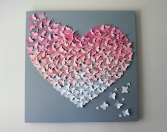 """Butterfly Wall Art - 30""""x30"""" in Soft Pinks and Soft Grey - Nursery Decor- Baby Girl - Butterfly Art - Baby Shower - Gift - Statement Piece"""