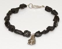 Men's Beaded Bracelet, Meteorite, black Tektite, Boyfriend, Father's Day, Brother, Birthday