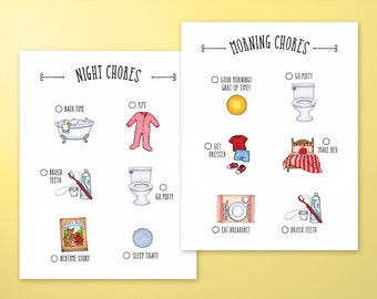 Childrens Morning and Night Time Chore Charts- Printable