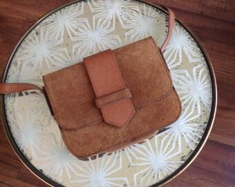 Vintage brown suede leather crossbody bag