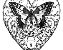 Vintage butterfly in heart - Temporary tattoo
