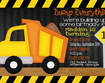 Dump Truck or Construction Birthday Invitation