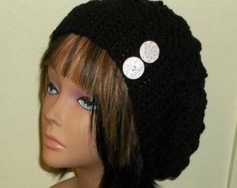 On Sale- Slouchy Crochet Hat Black Rasta With  White Buttons Womens Tam Beret Boho Chunky Beanie