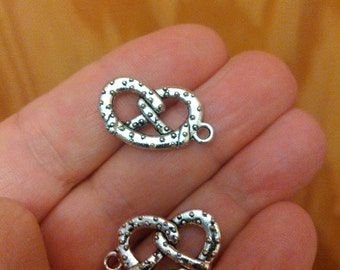 Set of 5 Pretzel Antique Silver Two-Sided Charms